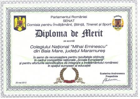 diploma de merit eminescu